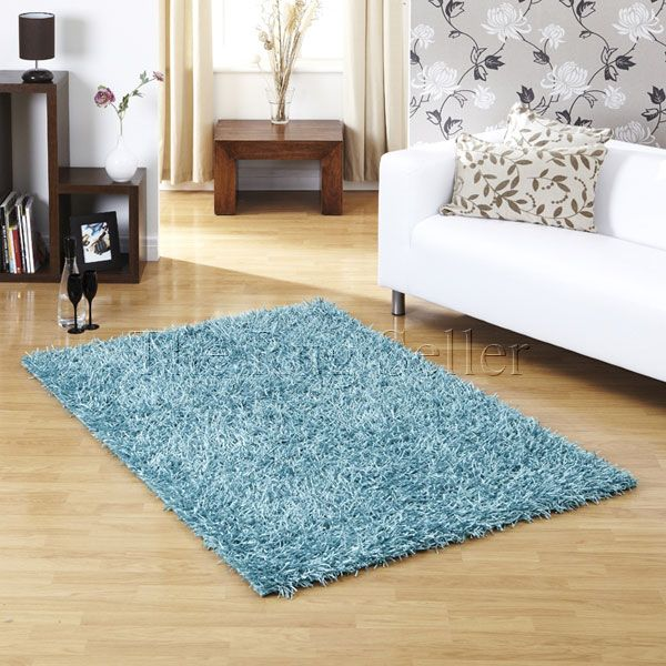 Ultimate Sparkle Shaggy Rug In Teal