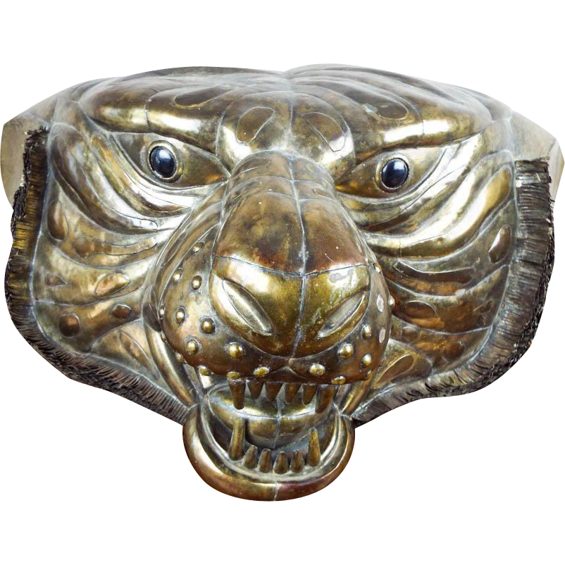 Vintage Signed Sergio Bustamante Lifesize Tiger Head Copper & Brass Sculpture 12/100
