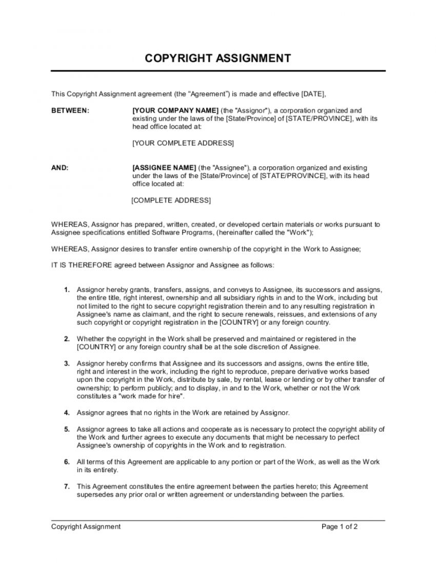 Get Our Image of Copyright Transfer Agreement Template in