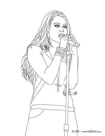 Miley Cyrus Singing Coloring Page More Sheets On Hellokids