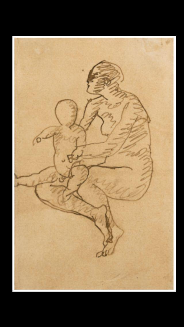 Pablo Picasso - Mère et enfant : maternité, 1905 - Pen and ink on ...