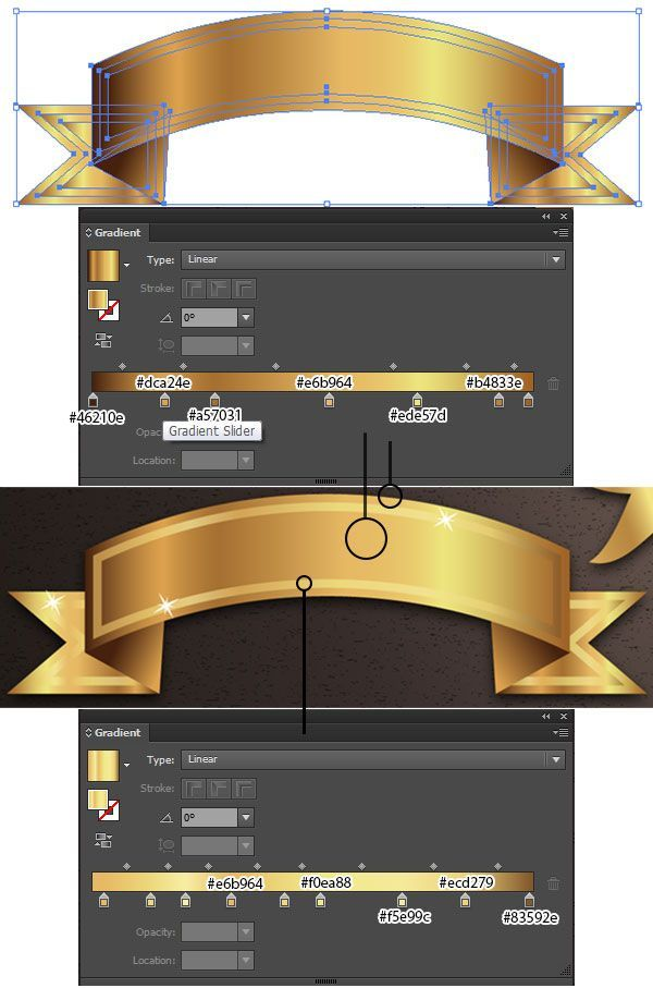 gold ribbon banner vektor tutorial vectips graphisches design flat grafik photoshop zeichenprogramm vektorgrafik
