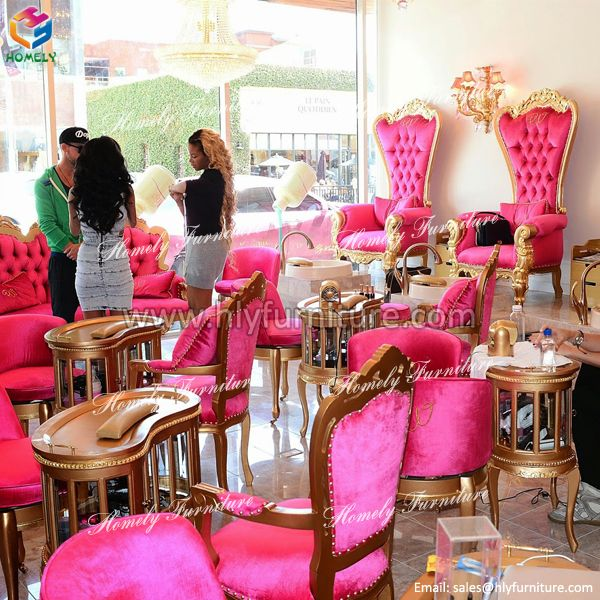 Pink Nail Salon Chairs Hanging Chair Qatar Beauty Care Equipments Princess Queen French Style Modern Pedicure Of Furniture