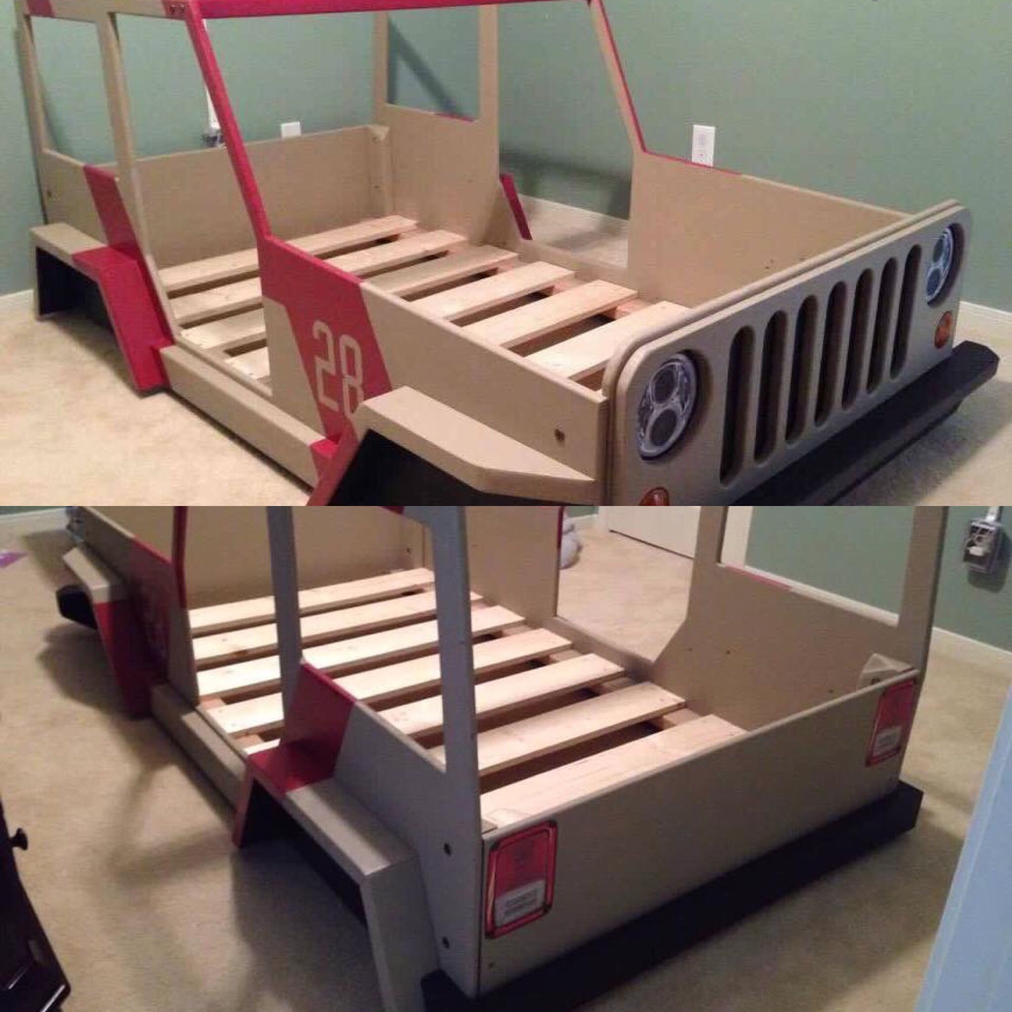Jeep bed plan | Kid beds, Toddler car bed