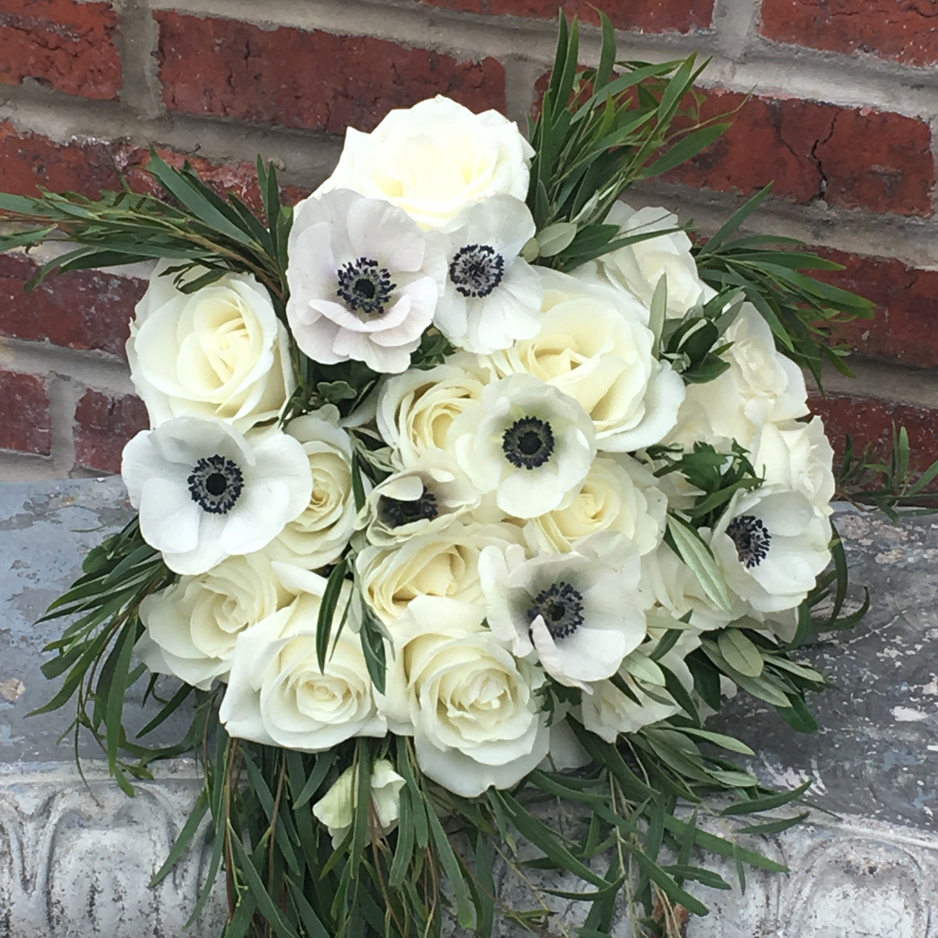 Bridal Bouquet Of White Roses With White Anemone Foliage Of Olive Leaves And Feather Eucalyptus Bridal Bouquet White Anemone White Roses