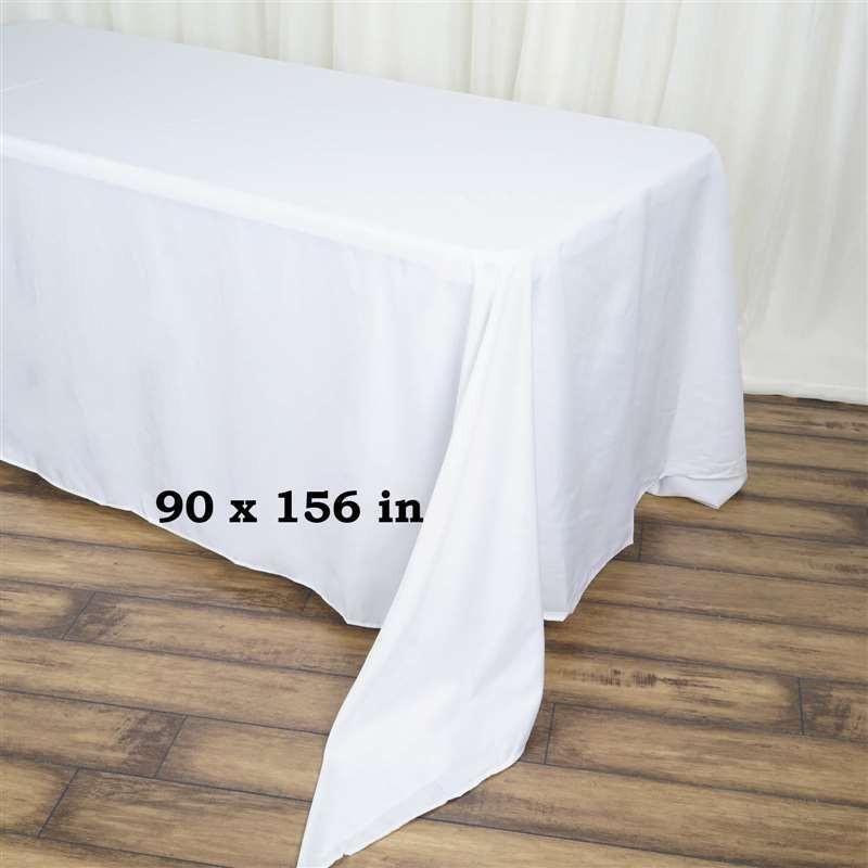 90x156 White Wholesale Polyester Rectangular Oblong Banquet Linen