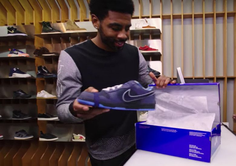 Kyrie Irving Dope Pics: Kyrie Irving Surprised With Blue Lobster Dunks At Concepts