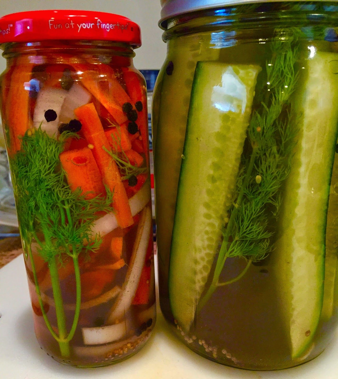 24 Hour Pickle Spears & 24 hour Pickled Carrots and Onions   Quick, easy, homemade!