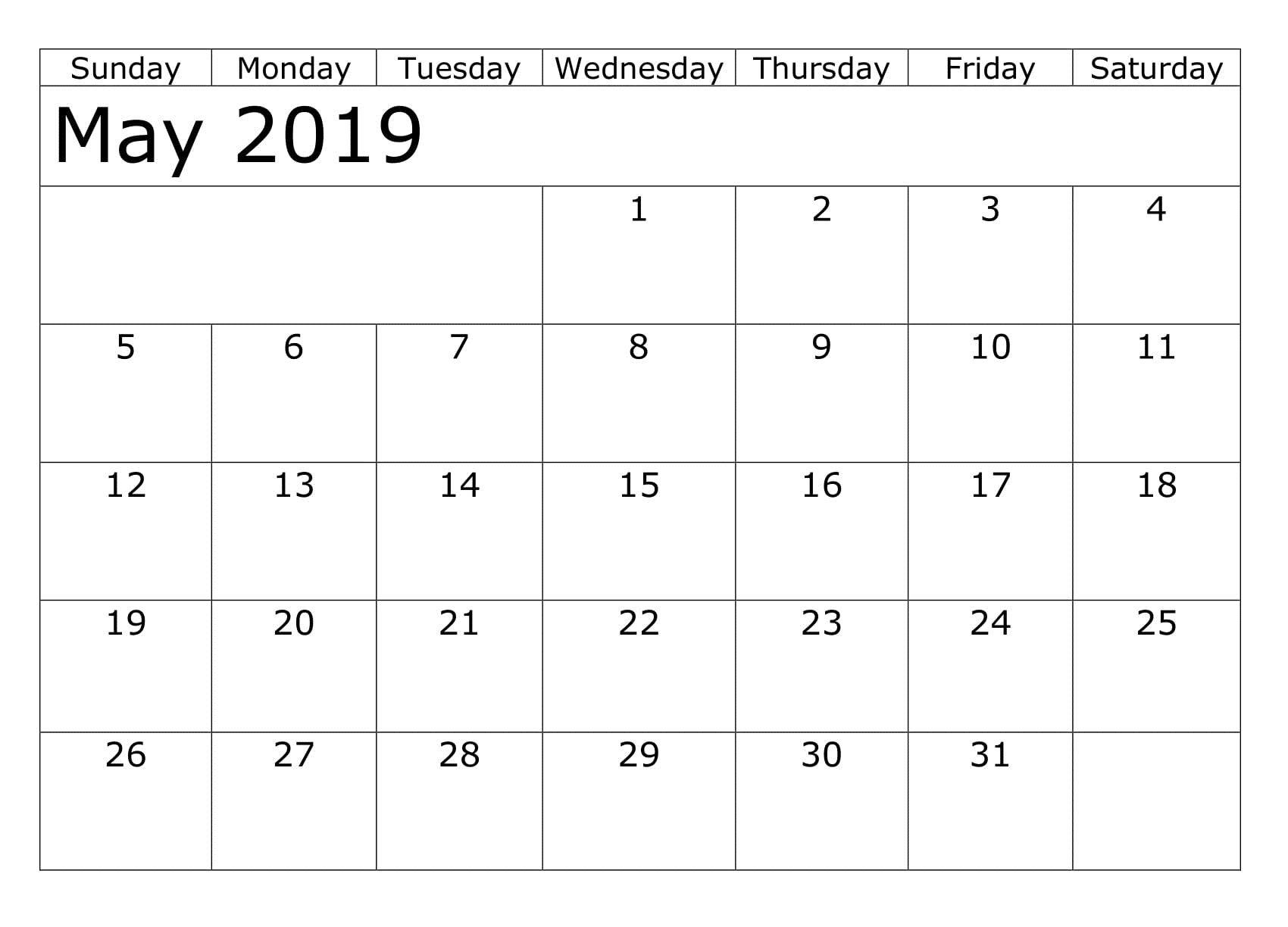 Print May Blank Calendar Free Printable
