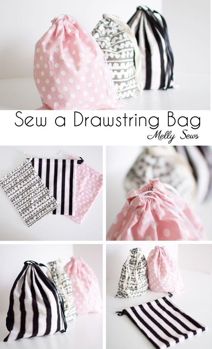 Projet de couture pour débutants: Apprenez à coudre un sac à cordon Melly Sews   – Bags