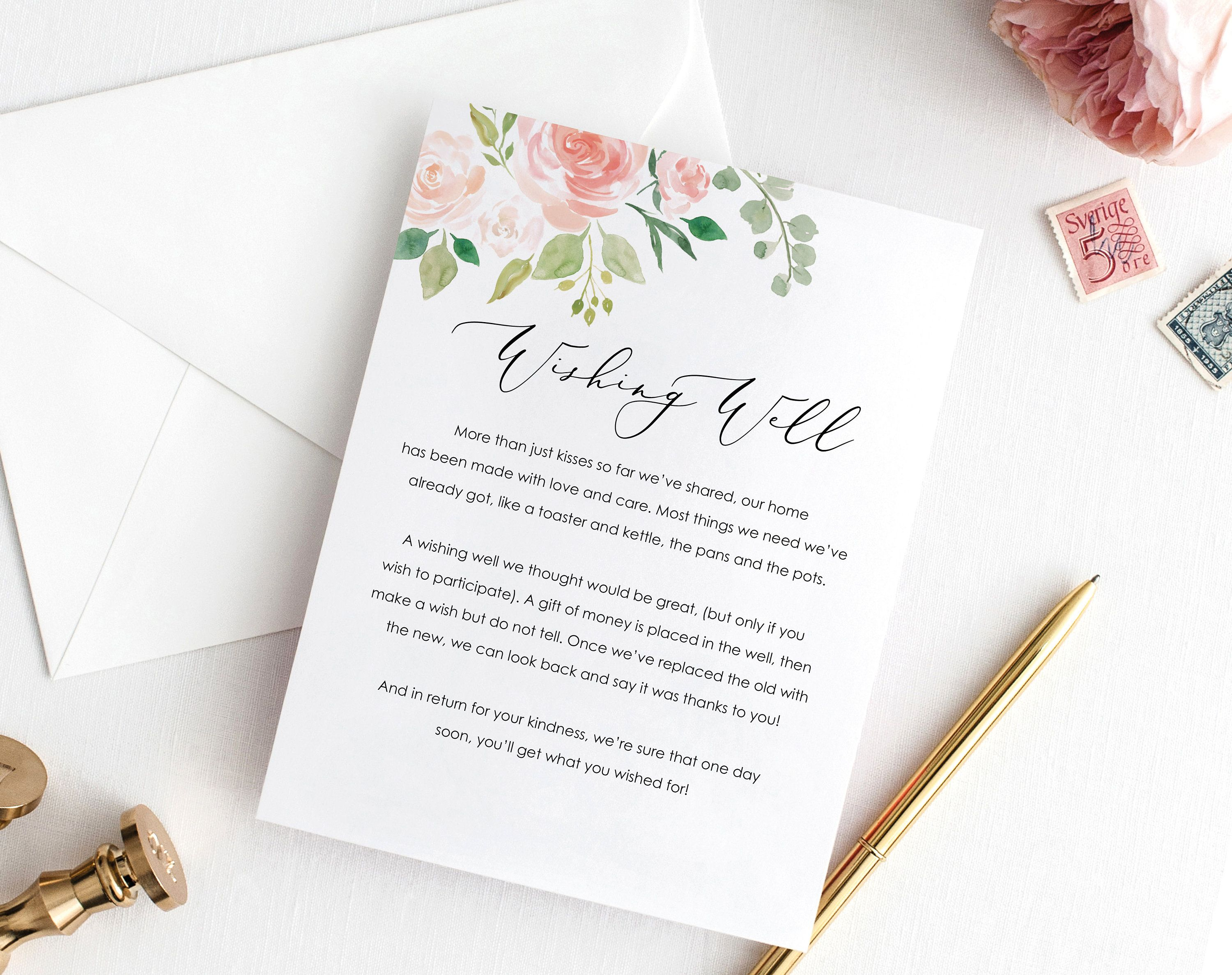 This Beautiful Floral Wedding Wishing Well Card Is The Perfect Way To Respectfully Re Wedding Invitations Printable Templates Wedding Cards Wedding Invitations