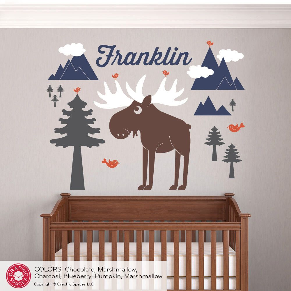 happy moose wall decal baby animal nursery wilderness mountain happy moose wall decal baby animal nursery wilderness mountain theme boy girl name personalized kids woodland wall mural room decor