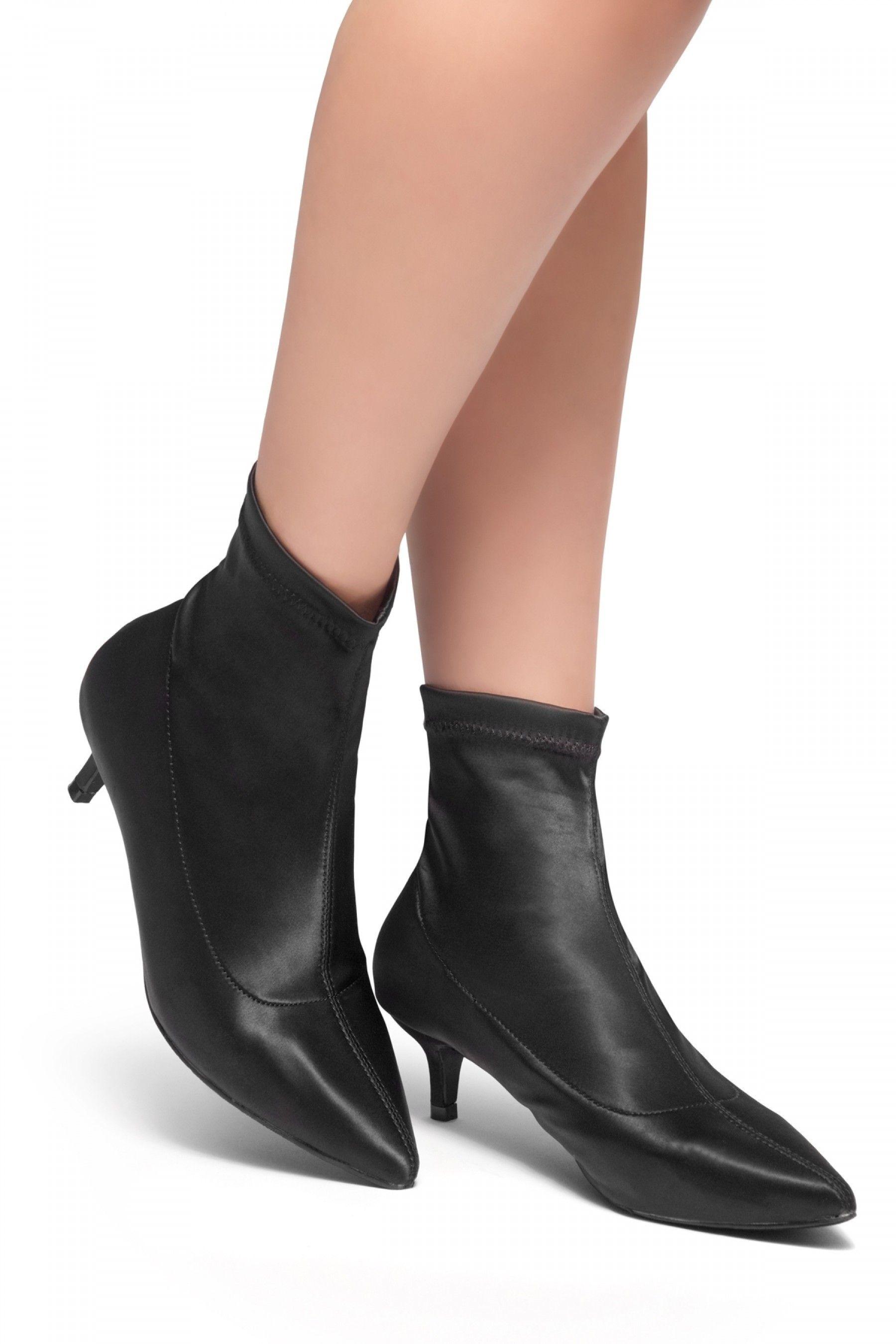 Kitten Heel Boots Black In 2020 Kitten Heel Boots Sock Ankle Boots Black Heel Boots