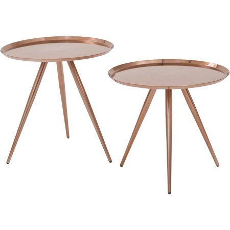 Tiffany Side Table 2 Pack Walmart Com Metal Accent Table Osp Home Furnishings Copper Side Table