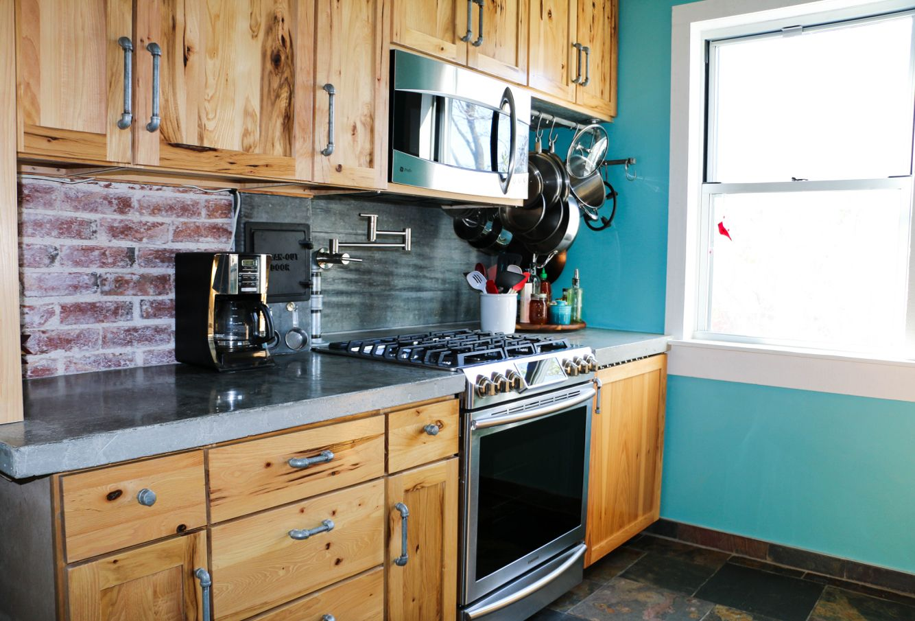 Best Kitchen With Hickory Cabinets Concrete Countertops P*T 400 x 300