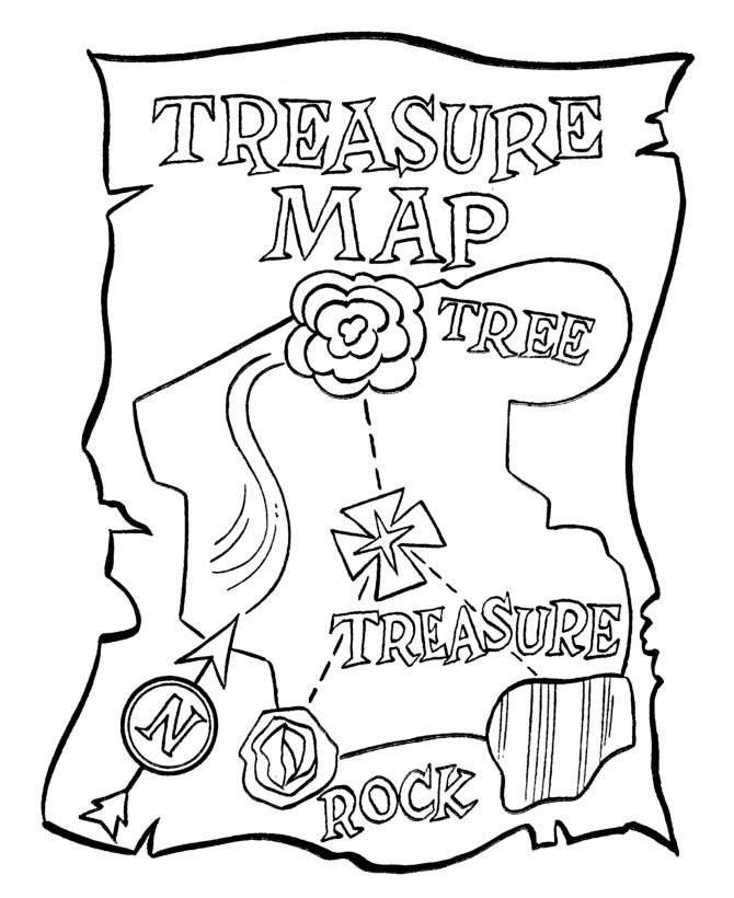 Treasure_Map_Coloring_Page_8.png (670×820) Pirate