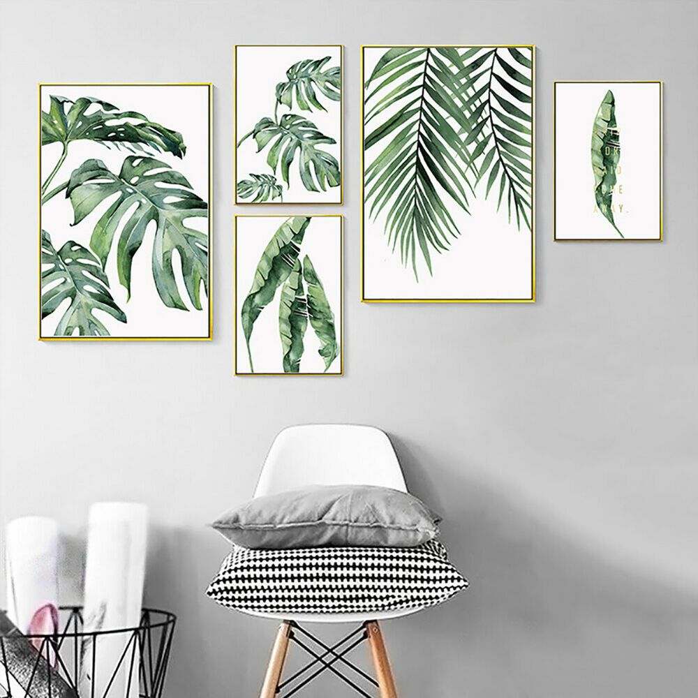 Modern Tropical Plant Leaves Canvas Painting Wall Living Room Home Decor Ardent Home Garden Home Decor Apartment Wall Decor Wall Canvas Watercolor Plants