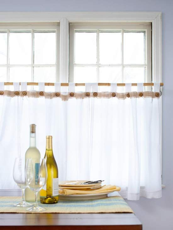 Do it yourself curtains and drapes are easier to make than you might love these cafe curtains with burlap diy curtains and shades 2013 ideas solutioingenieria Gallery