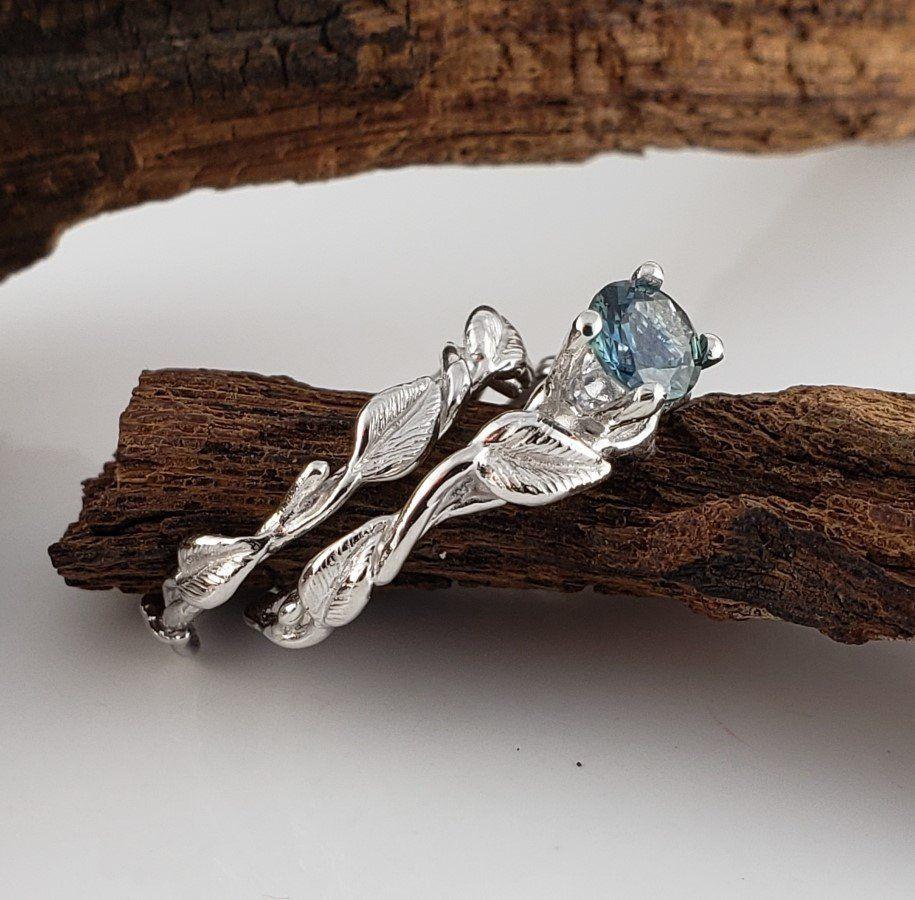 Teal Montana Sapphire Engagement Ring Set, Wedding Ring