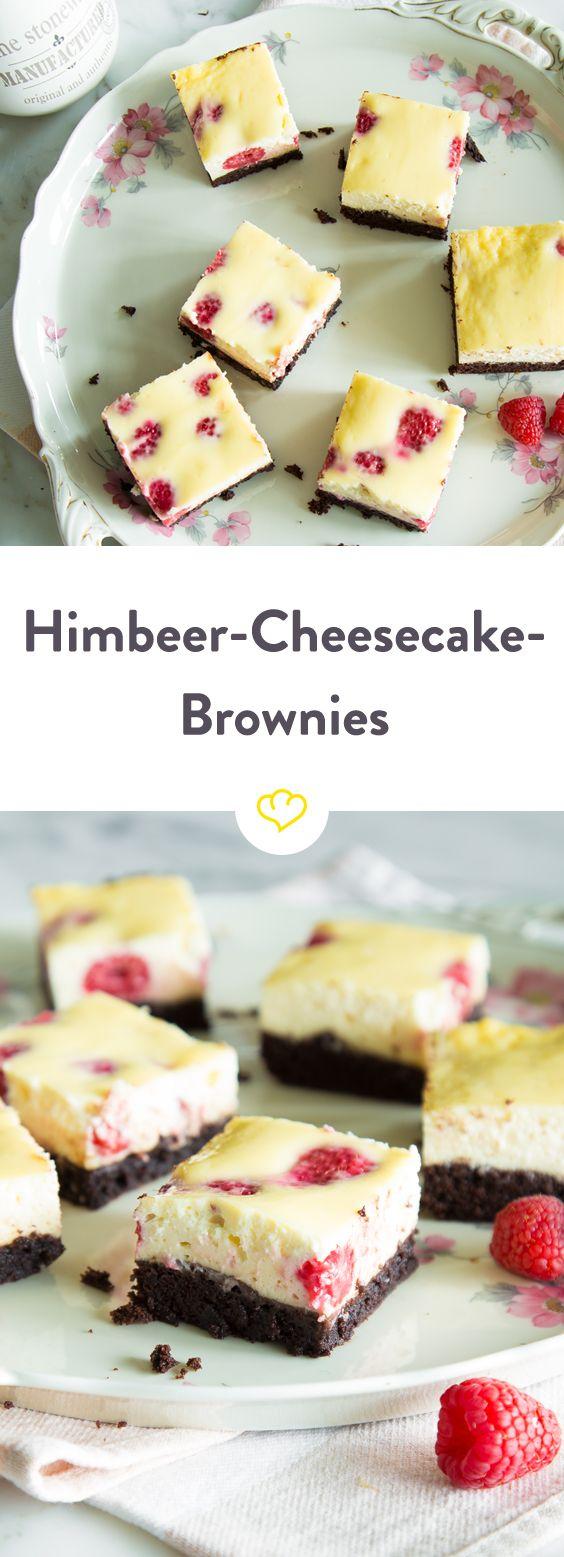 Amerikanische Klassiker unter sich: Himbeer-Cheesecake-Brownies #cheesecake