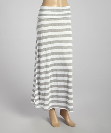 Another great find on #zulily! Gray & White Stripe Maxi Skirt by MOA Collection #zulilyfinds