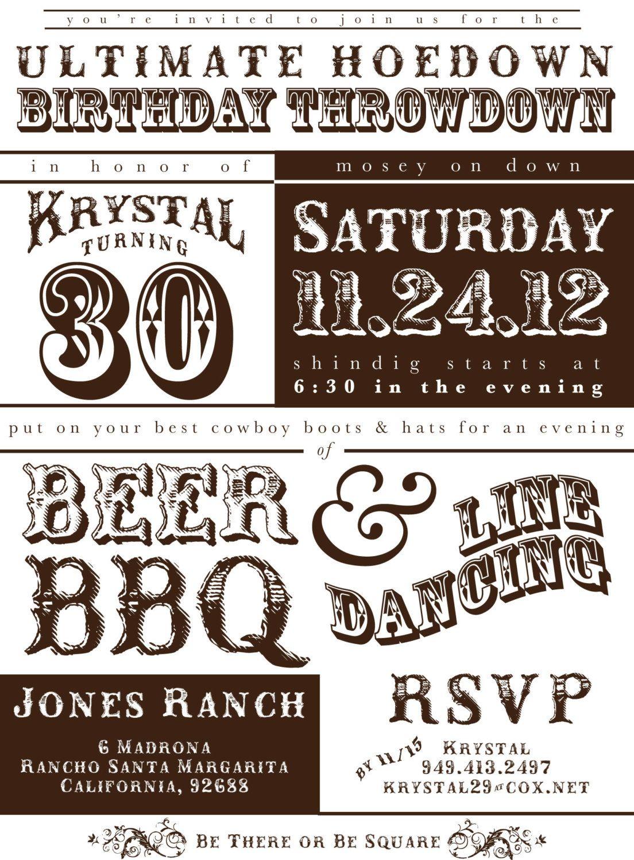 Printable Western Hoedown Birthday Invitation | Western birthday ...