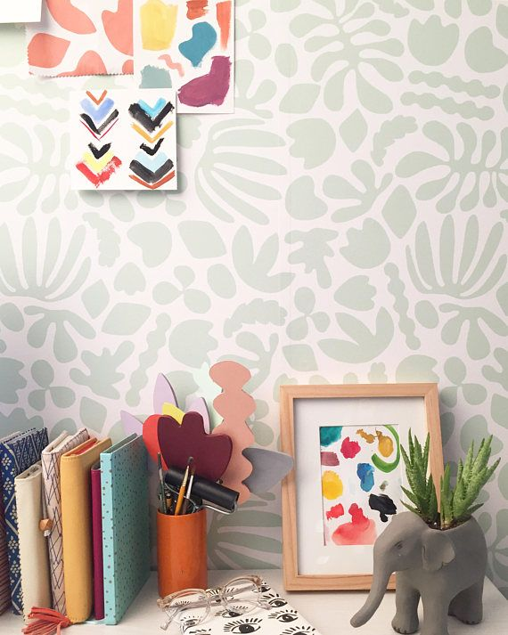 Removable Wallpaper Muse In Mint Perfect For Renters And DIY Crafters