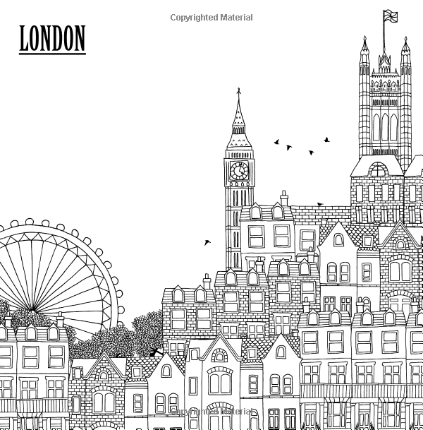 Amazon Com Color The City Coloring Book Of City Skylines Around The World Color Cityscapes F Black And White Illustration London Drawing Zen Doodle Patterns