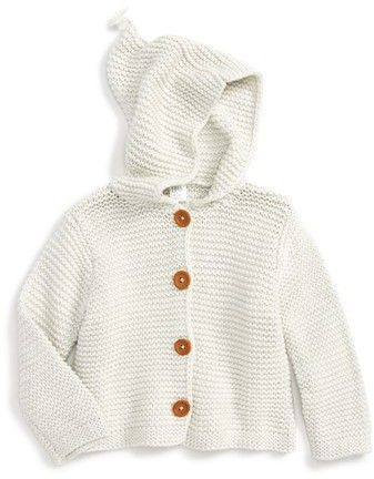 Baby Boy Girl 100/% Organic Cotton Knitted Cardigan Sweater with Hood