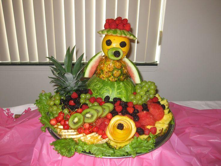Fruit platter arrangements for kids edible fruit for Baby shower tray decoration
