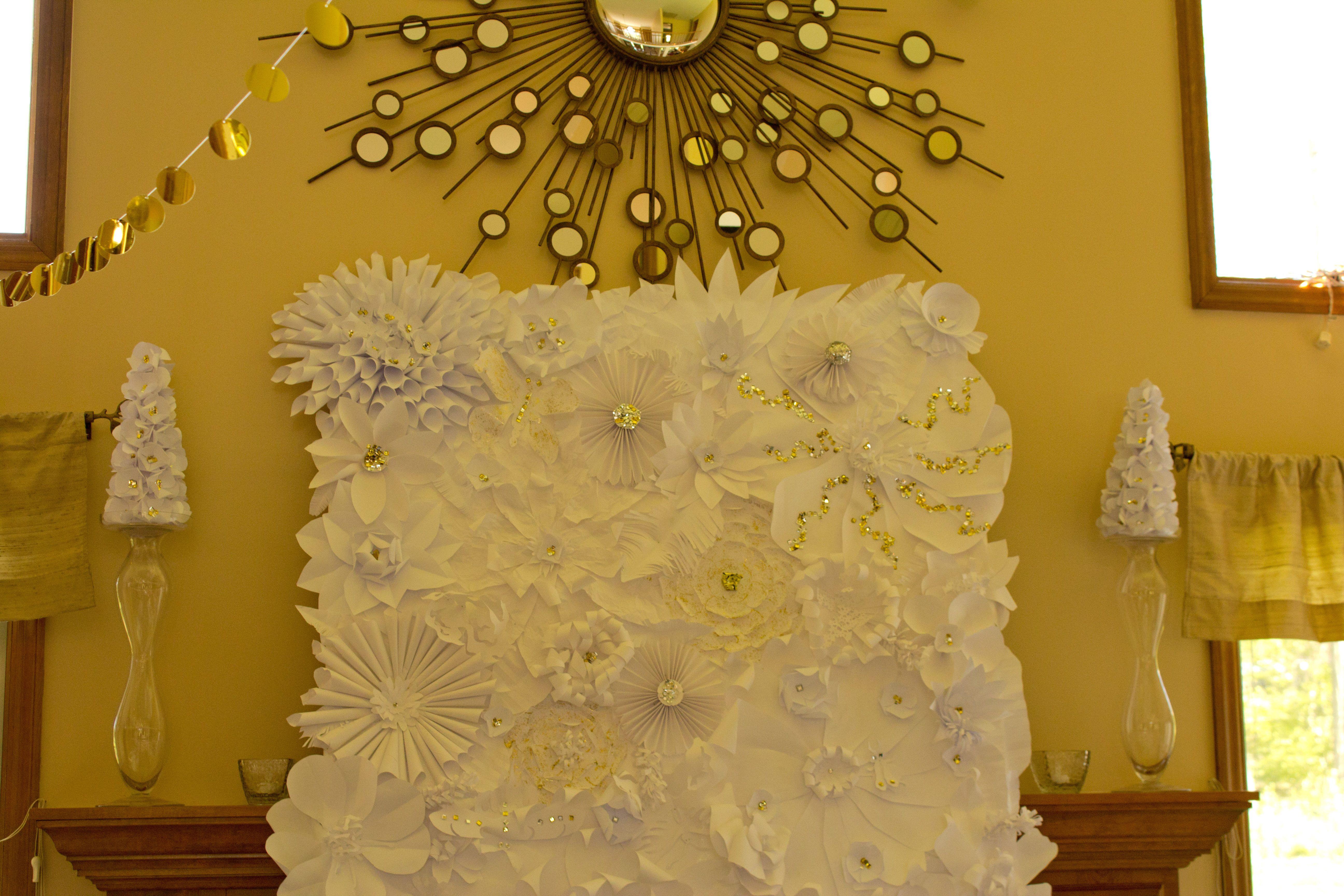 Handmade paper flower wall Wedding ideas Prom decoration ideas ...