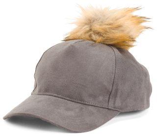fd4f338bd68 Faux Suede Baseball Hat With Pom Pom