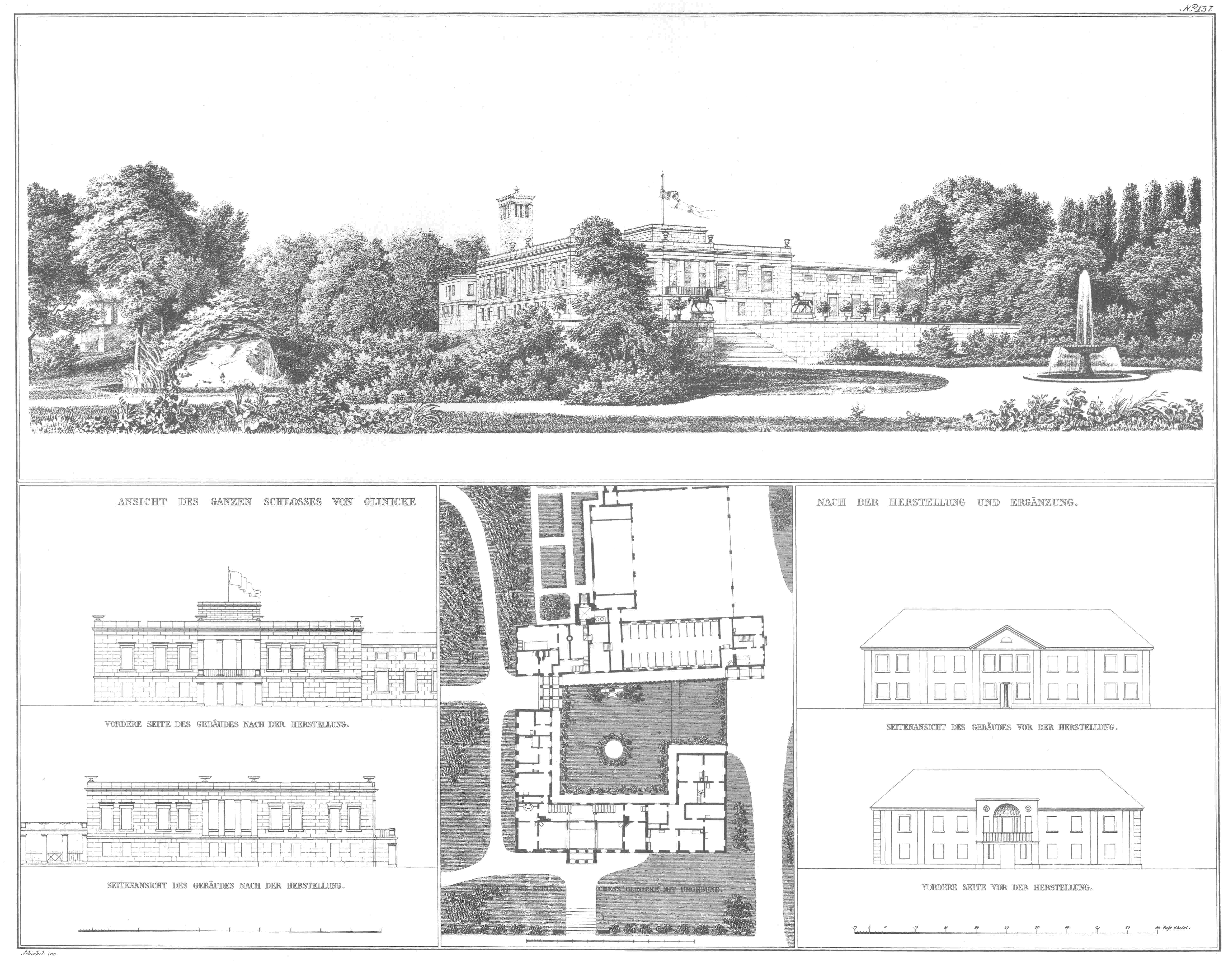 Schinkel Schloss Glienicke Potsdam 1824 32 Engraving Of Perspective Elevation Lower Left Floor Sit Architecture Sketch Site Plan Classical Architecture