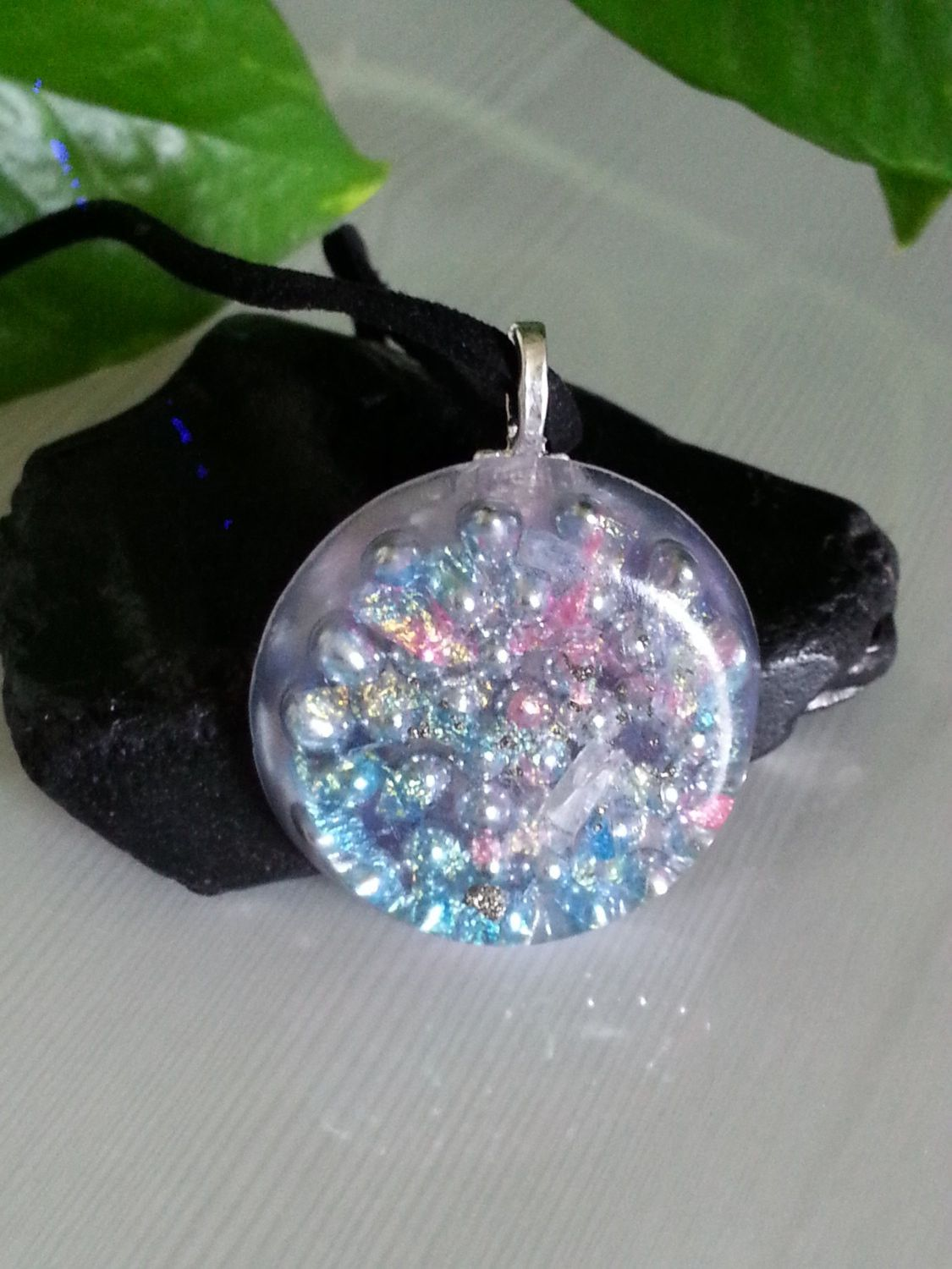 Pink and Blue Iridescent Daydream Orgonite Pendant -Quartz Crystal, Pyrite, Blue Kyanite