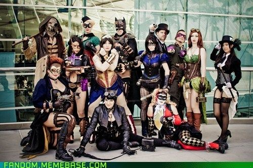 DC Steampunk's versions of, left to right: Scarecrow (back) Batgirl (Front) Huntress, female Robin, Wonder Woman, Catwoman (front) Batman, Female Nightwing, Two-Face (back) Harley Quinn (front) Riddler, Poison Ivy and Zatanna.