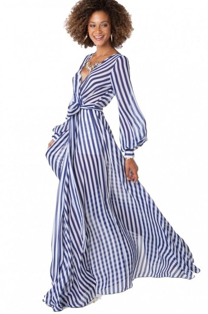 Women S Fashion Clothing Akira Black Label Thin Striped Chiffon Wrap Dress In Navy And White Stripes Pattern Fashion Fashion Clothes Women Dresses