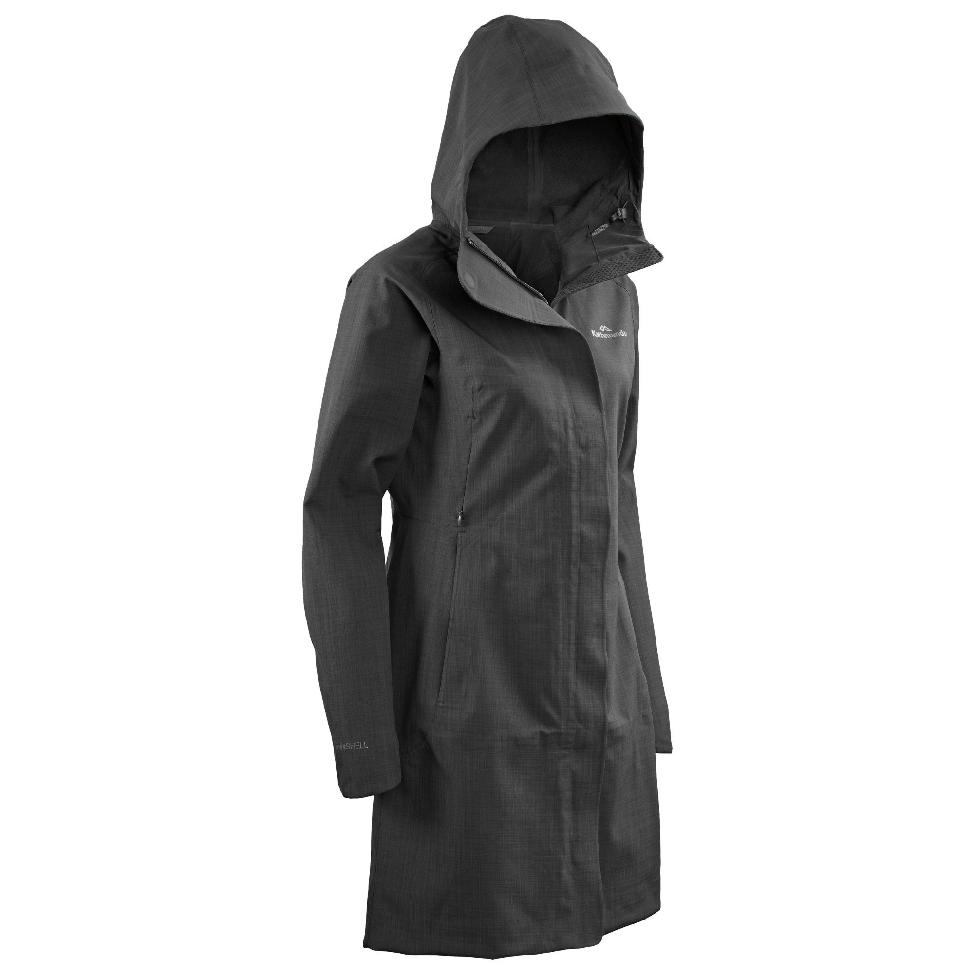 Buy Piedra Women's Longer Length Hooded Waterproof Coat - Black ...