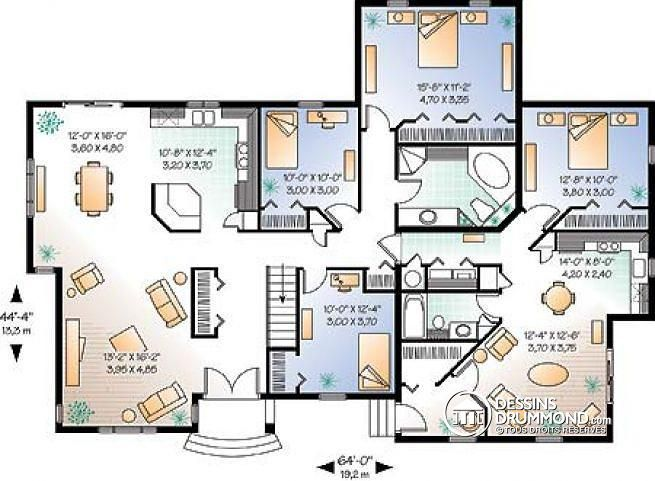 Plan de Rez-de-chaussée Bi-génération, logement principal avec 3 ch