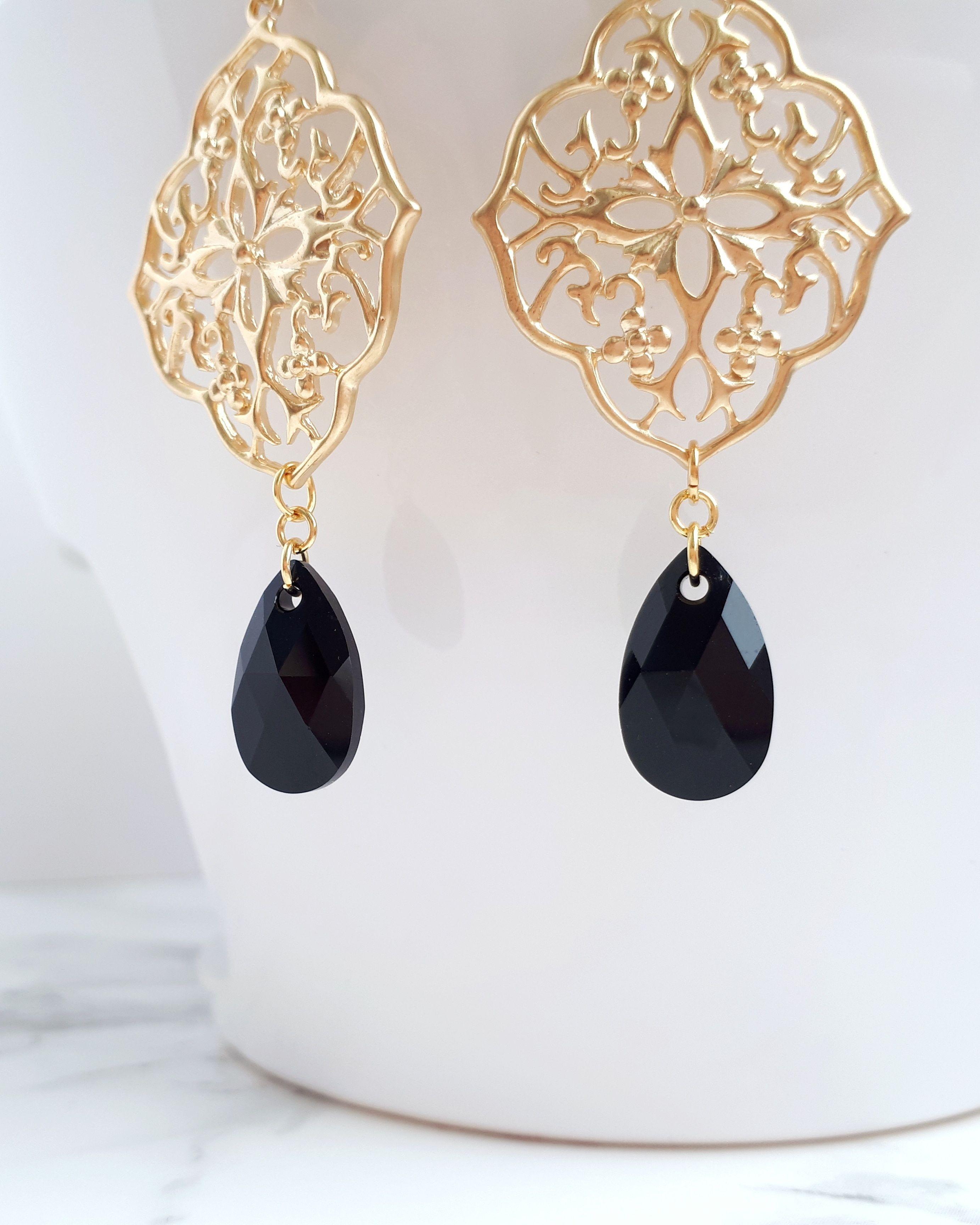 Black gold earrings black crystal earrings gold filigree earrings black gold earrings black crystal earrings gold filigree earrings black chandelier earrings gold bohemian earrings beauty gift arubaitofo Images
