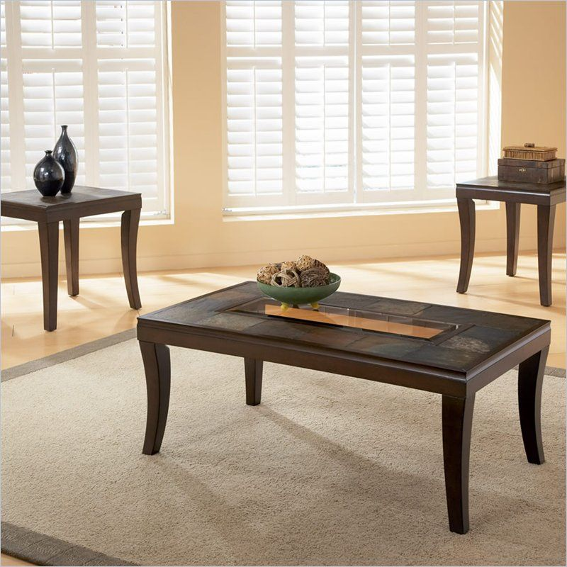Standard Laguna Coffee and End Table Set w Slate Top and Glass