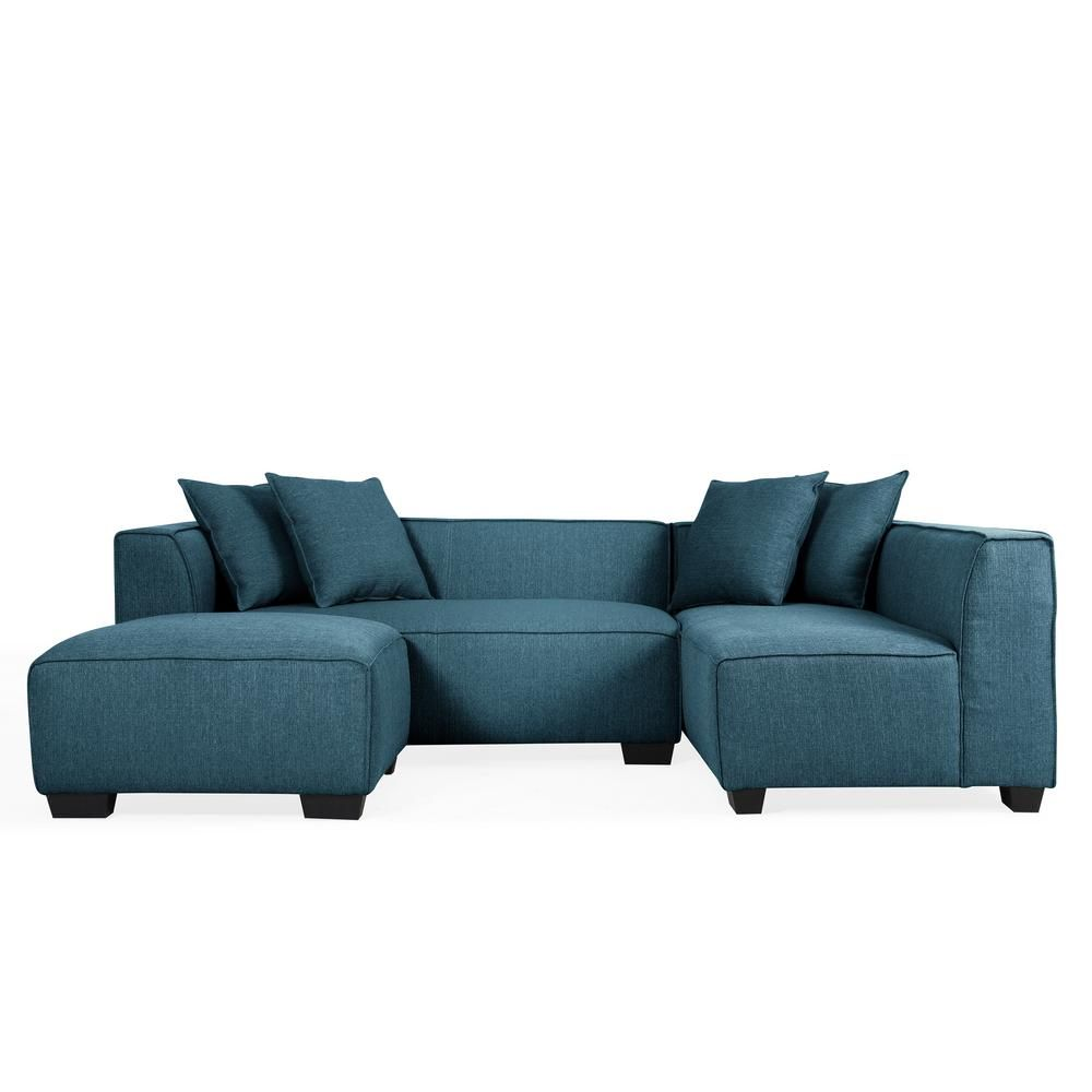 Peachy Handy Living Phoenix Caribbean Blue Linen Sectional Sofa Alphanode Cool Chair Designs And Ideas Alphanodeonline