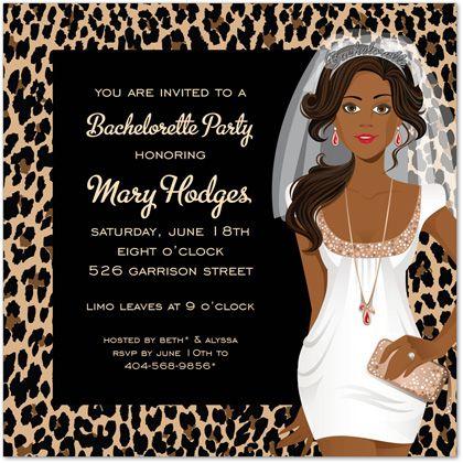 African American Bachelorette Leopard Bridal Shower Invitations