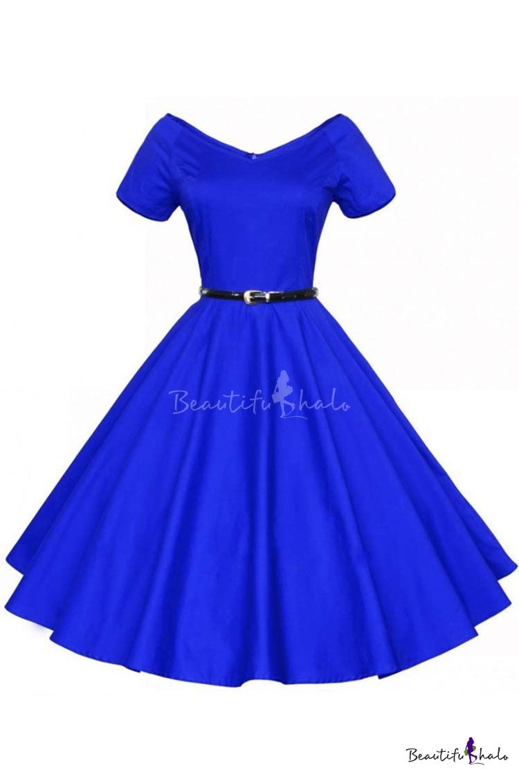 Women 1950s V-Neck Vintage Rockabilly Swing Evening Party Dress ... 13b4aaca3