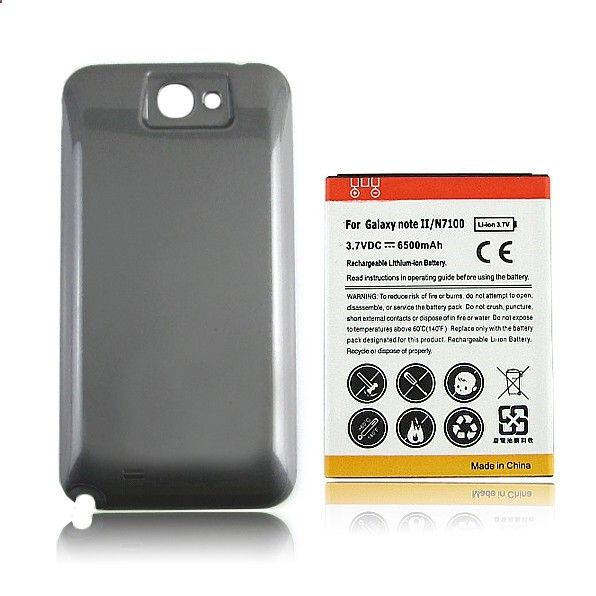 [Visit to Buy] #Advertisement Replacement 1pc Extended 6500mAh Battery   Back Cover For Samsung Galaxy Note II 2 N7100 Guarantee 100%