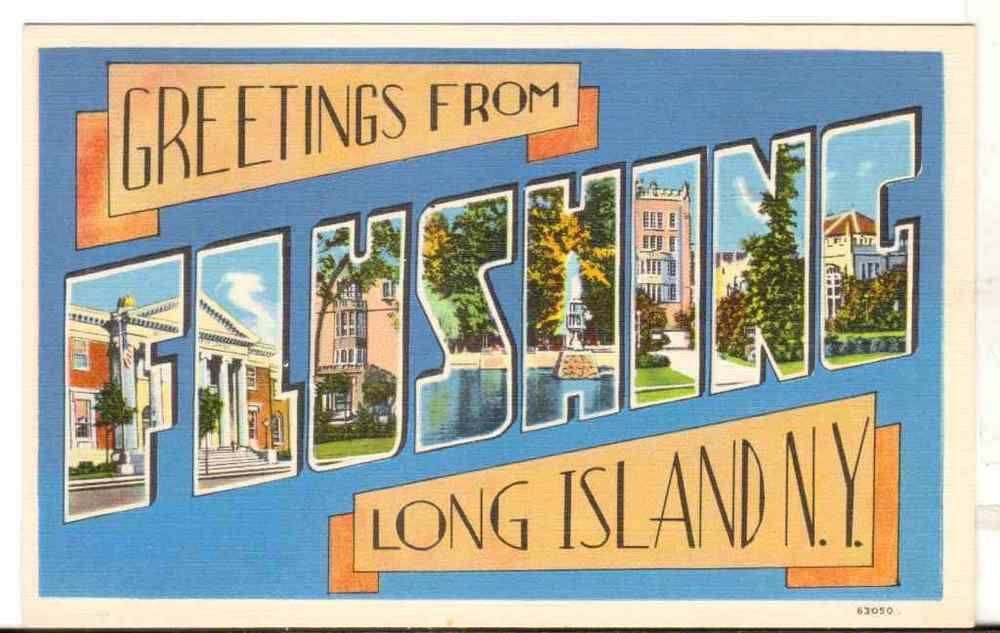 Undated Unused Postcard Large Letter Greetings from Flushing Long - letter greetings