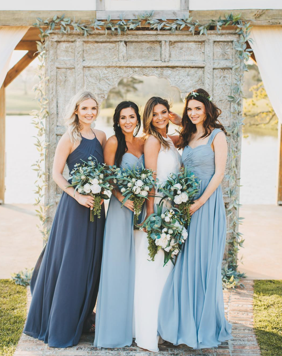 How To Mix And Match Your Bridesmaid Dresses Mismatched Bridesmaid Dresses Blue Bridesmaid Dresses Long Blue Dusty Blue Bridesmaid Dresses