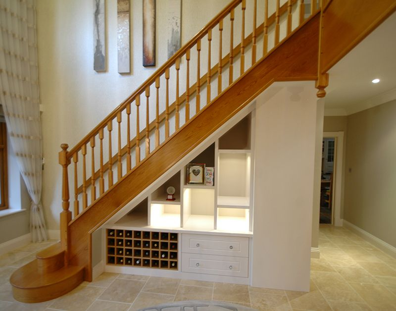 Bespoke Under Stairs Shelving: Beechwood Bookcase. Bespoke Under
