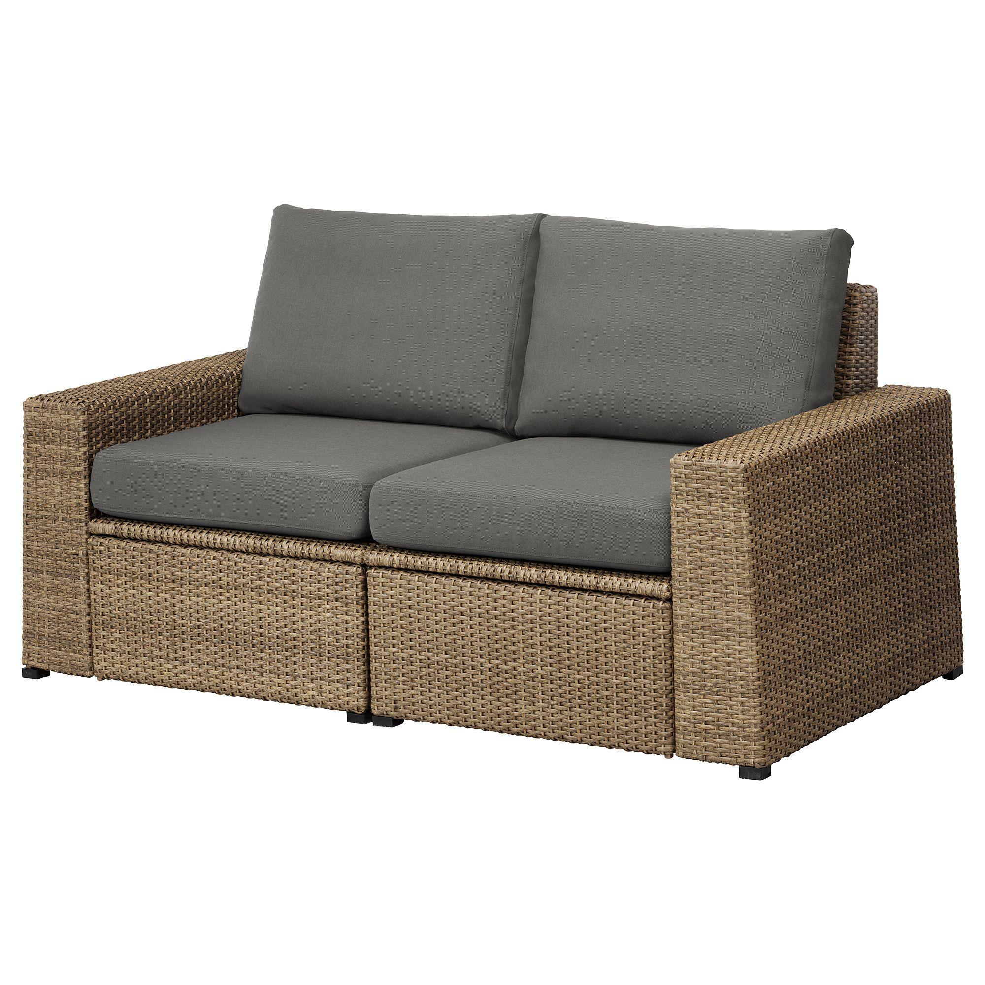 Solleron 2 Seat Modular Sofa Outdoor Brown Froson Duvholmen Dark Gray Ikea Ikea Outdoor Modular Sofa Outdoor Sofa