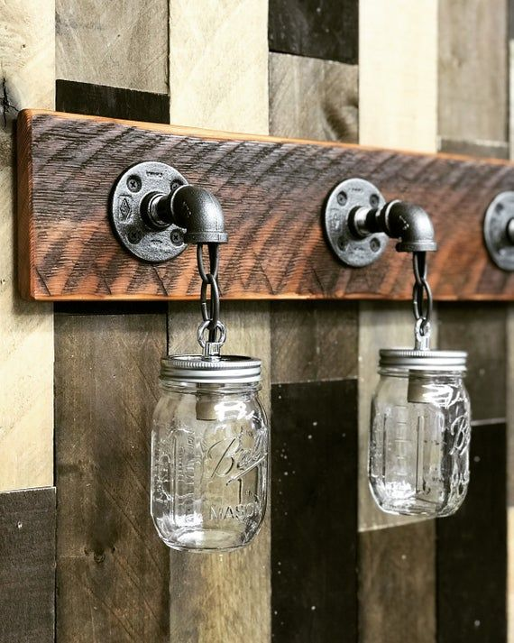 Photo of RECLAIMED WOOD Mason Jar Light Fixture, Bathroom Lights, 3 Lights Fixture, Vanity Lights, Wall Lighting, Country Rustic Farmhouse Decor Lamp