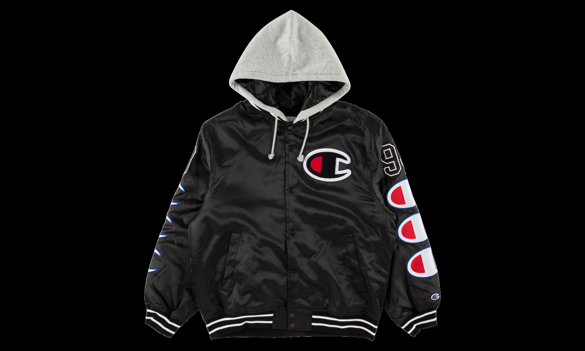 Supreme Champion Hooded Satin Varsity Jacket Fw 18 Su5785 Jackets Varsity Jacket Champion [ 1200 x 2000 Pixel ]